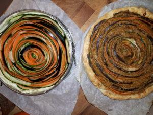 voor-na groente spiraal quiche